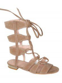Buy Solid Color Lace-Up High Top Sandals - APRICOT 39