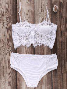 El Empalme De Encaje Blanco Cami Set Bikini - Blanco M