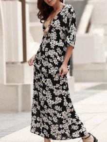 Plunging Neck Printed Boho Dress - Black S