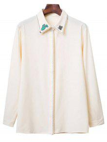 Embroidered Turn Down Collar Long Sleeve Shirt - Beige M