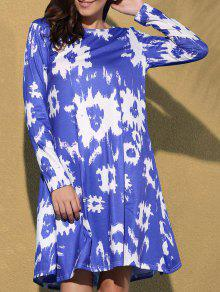 Printed Round Collar Long Sleeve Dress - Blue S