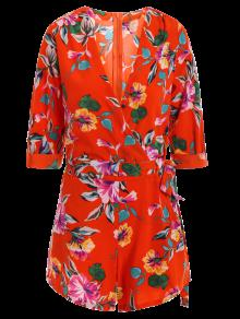 Bowknot Floral Print V Neck 3/4 Sleeve Romper - Red S