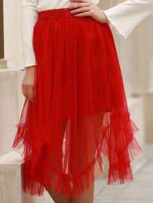 Solid Color Folded Pleated High Waist A-Line Skirt - Red Xl