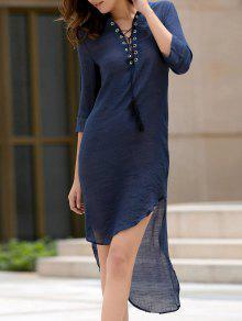 Hundiendo Profundo Azul Del Vestido De Cuello Alto-bajo - Marina De Guerra Xl