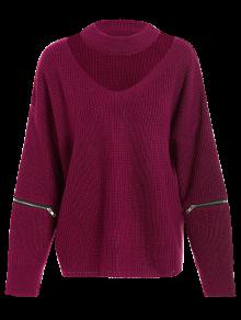 Plus Size Cut Out Chuky Choker Sweater BURGUNDY: Sweaters ONE SIZE ...