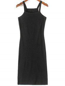 Solid Color Side Slit Straps Sleeveless Dress - Black L