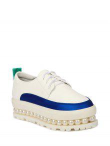 Faux Perle Couleur Plateforme Bloc Chaussures - Blanc 37