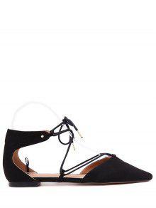 حذاء مسطح باللون الأسود مدبب من الأمام بأربطة - أسود 37