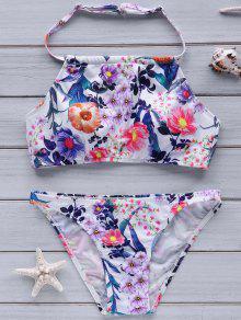 Flower Print High Neck Bikini Set - S