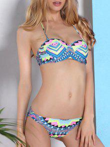 Geometric Print Halterneck Bikini Set - M