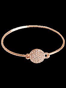 Rhinestone Round Alloy Bracelet - Rose Gold
