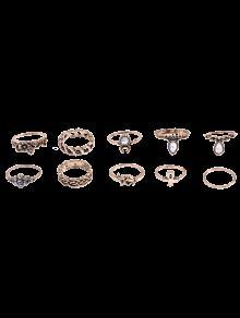 De Diamantes De Imitación Anillos De La Flor Del Elefante - Dorado