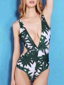Buy Bamboo Leaf Print Plunging Neck One-Piece Swimwear - GREEN M