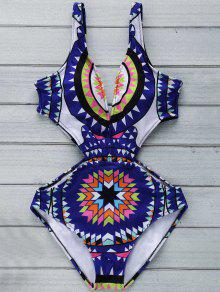 Buy Geo Print Plunging Neck One Piece Swimwear - PURPLISH BLUE M