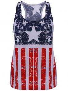 Scoop Neck American Flag Patriotic Tank Top - Blue And Red M