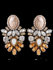 Alloy Faux Crystal Rhinestone Oval Earrings