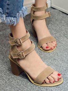 dcda53445420 35% OFF  2019 Solid Color Double Buckles Chunky Heel Sandals In ...