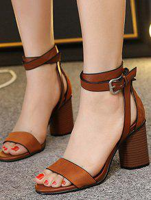 Chunky Heel Suede Ankle Strap Sandals BROWN: Sandals 36 | ZAFUL