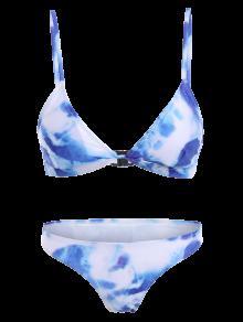 a0f9938cbf3e8 21% OFF  2019 Spaghetti Strap Tie Dye Bathing Suit In BLUE S