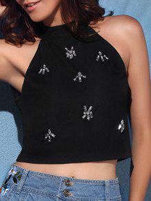 Backless Round Collar Rhinestone Embellished Tank Top - Black Xl