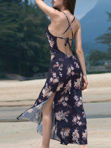 High Slit Spaghetti Straps Backless Printed Maxi Dress - Deep Blue 2xl