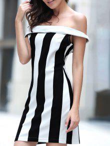 فستان بلا اكتاف بلا أكمام مخطط ملائم - أبيض وأسود M