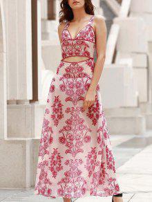Playa Rojo De Blanco Vestido Cintura L Con Con Maxi Escotado YZOBxqw