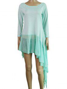Irregular Hem Chiffon Splice Scoop Neck Dress - Lake Blue L