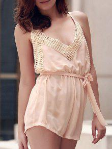 Lace Spliced Cami Backless Playsuit - Nude L
