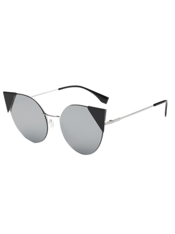 women's Triangle Insert Cat Eye Mirrored Sunglasses - SILVER