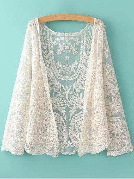 chic See-Through Leaves Pattern Lace Blouse - OFF-WHITE ONE SIZE(FIT SIZE XS TO M)