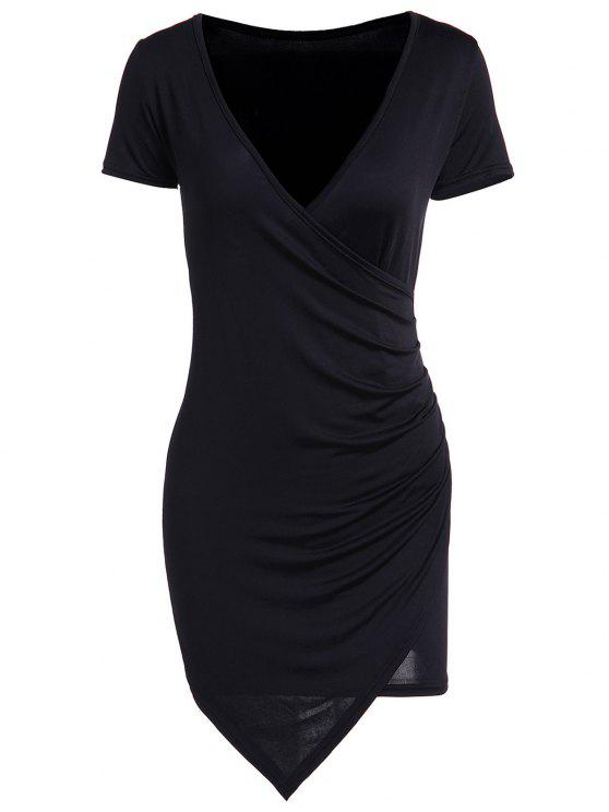 unique Solid Color Short Sleeve Bodycon Dress - BLACK S