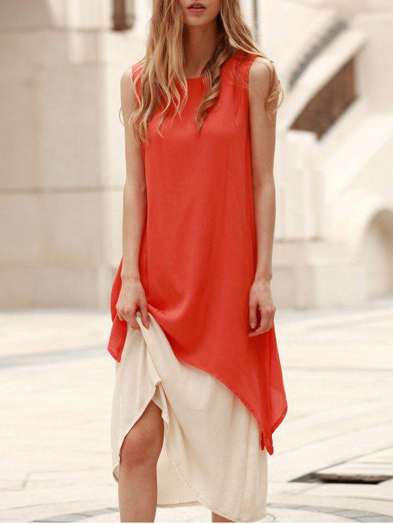 بلا أكمام مضيئة فستان ماكسي + تحت اللباس ثوب ذو قطعتين - البرتقالي L