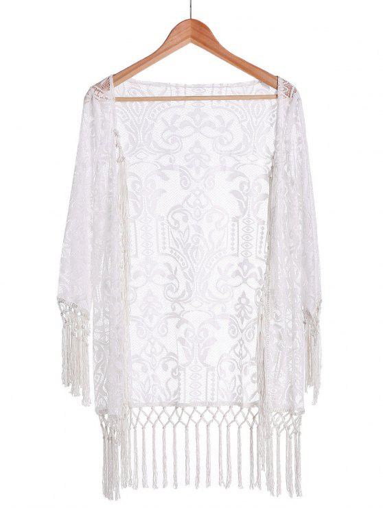 latest Tassels Spliced Lace White Sunscreen Blouse - WHITE S