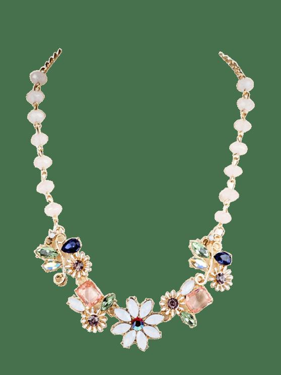 Faux-Edelstein-Blumen-Halskette - Golden