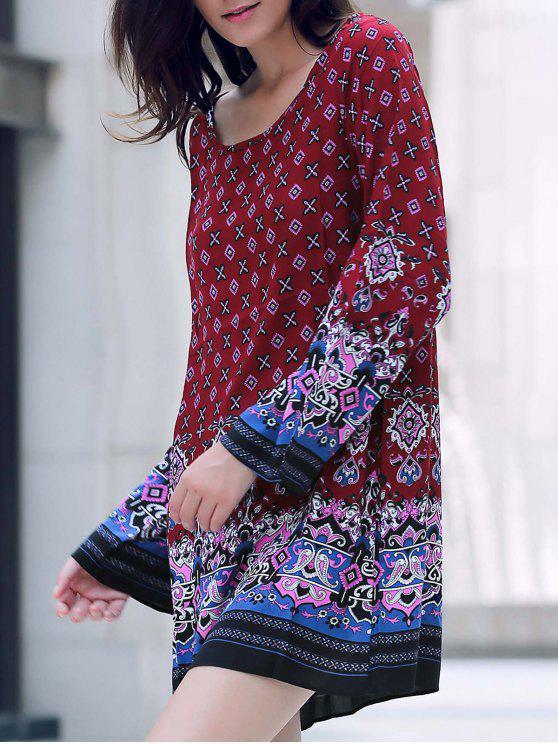 buy Long Sleeve Printed Peasant Dress - RED M
