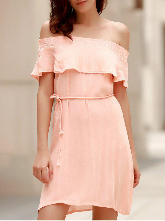online Off-The-Shoulder Belted Pink Dress - LIGHT PINK S