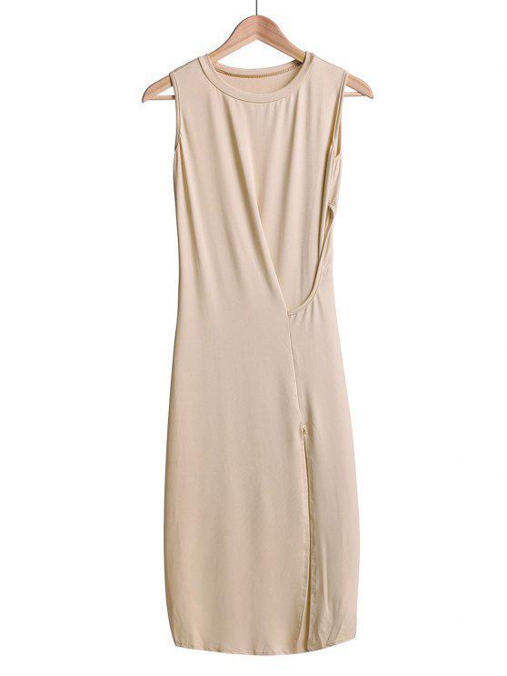 Solido di colore ad alta fessura Scontornabile Maxi Dress - Bianco Sporco L