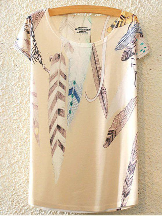 women Feather Print Round Collar Short Sleeve T-Shirt - WHITE ONE SIZE(FIT SIZE XS TO M)