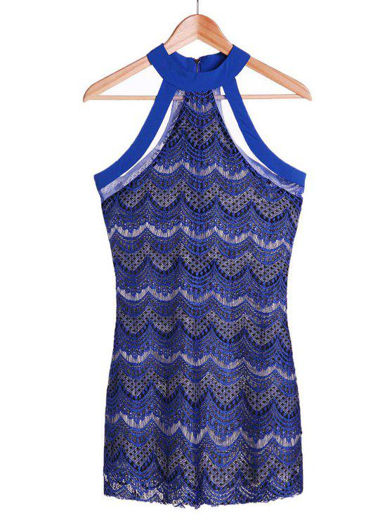 outfit Bodycon Scalloped Lace Dress - SAPPHIRE BLUE M