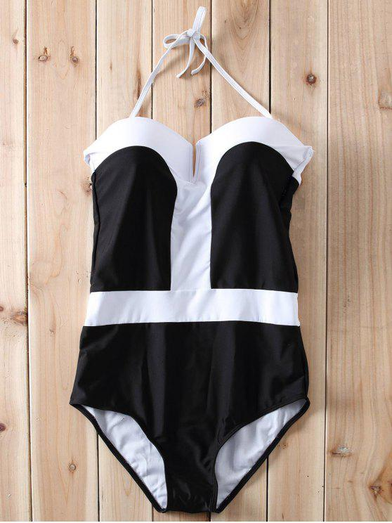 Color Block Bandeau One Piece Swimwear - Blanc et Noir L