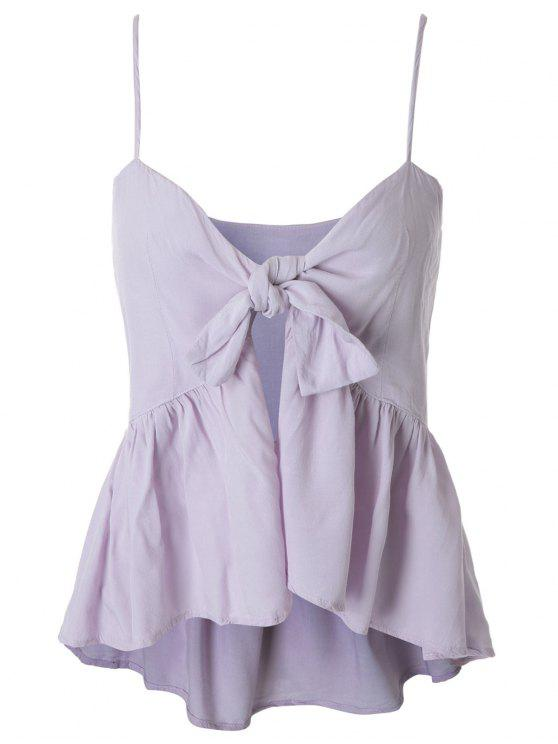 ladies Spaghetti Strap Tie Knot Pepleum Tank Top - LIGHT PURPLE L