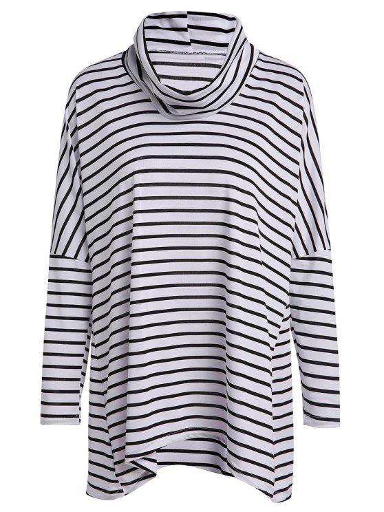 Langes Hülsen-gestreiftes lose T-Shirt - Weiß & Schwarz L