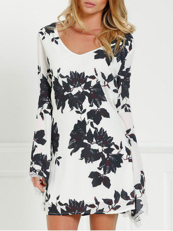 shop Black Floral Long Sleeve Cut Out Dress - WHITE AND BLACK L