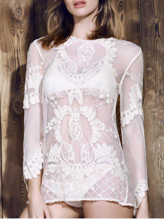 affordable Long Sleeve Sheer Lace Cover Up - OFF-WHITE ONE SIZE(FIT SIZE XS TO M)