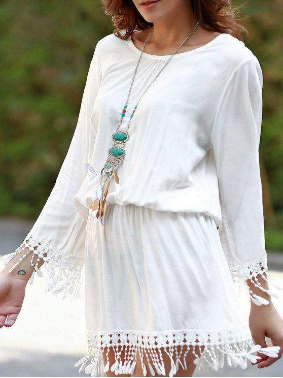 buy Beach Blouson Dress Cover Up - WHITE ONE SIZE(FIT SIZE XS TO M)