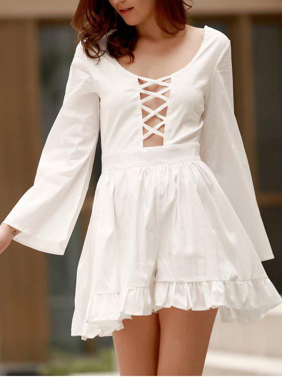chic Ruffle Hem Cutout Long Sleeve Romper - WHITE ONE SIZE(FIT SIZE XS TO M)