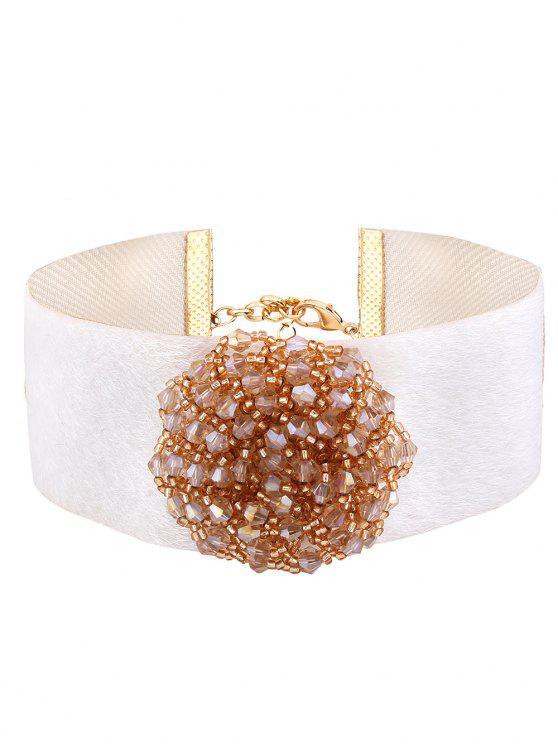 Collier faux cachemire à petites perles fleur - Blanc