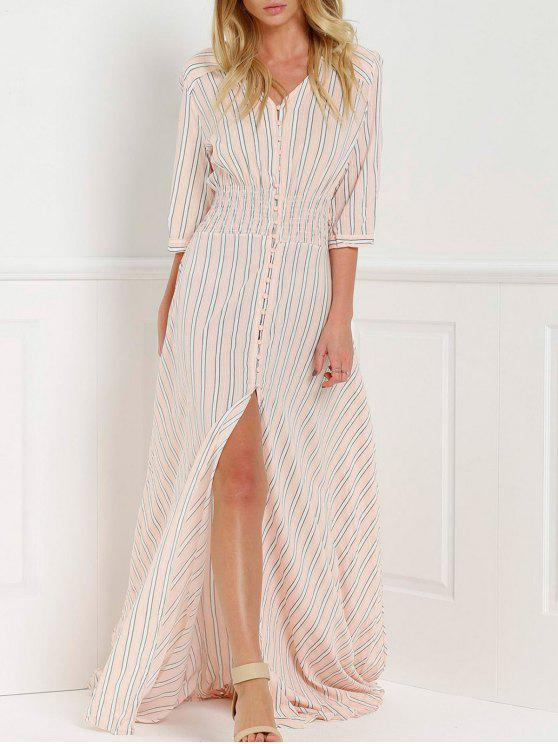 women's Button Front Stripe 3/4 Sleeve Maxi Dress - PINK S