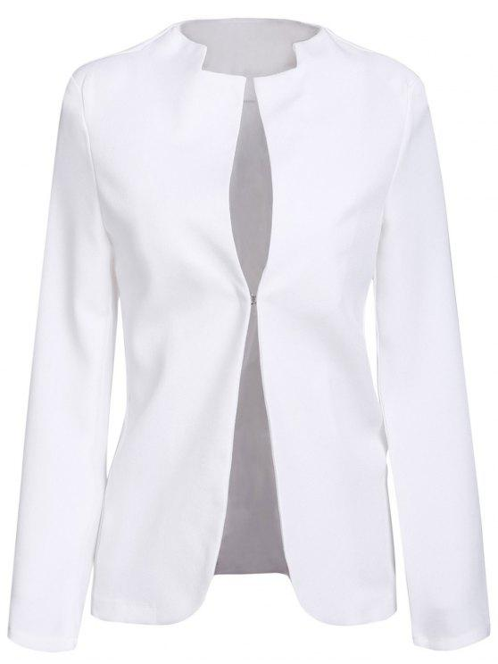 hot Notched Solid Color Long Sleeve Blazer - WHITE L